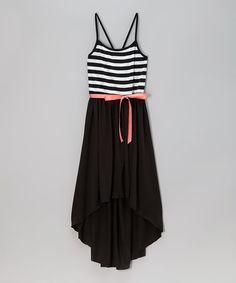 Another great find on #zulily! Black & White Stripe Hi-Low Dress - Girls by Zunie & Pinky #zulilyfinds