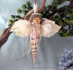 Unique Sea shell angel _Coastal christmas by CarmelasCoastalCraft, $18.50