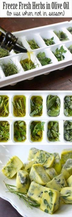 Freeze herbs while they are fresh - put chopped herbs into ice tray and add…