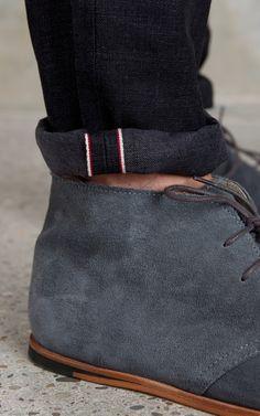 Men's grey suede desert boots -- menswear style
