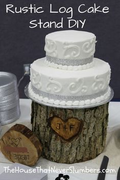 Get instructions for this Rustic Log Cake Stand DIY. Rustic Cake Stands, Wedding Cake Stands, Wedding Cakes, Wood Cupcake Stand, Cupcake Stands, Rustic Wedding Venues, Wedding Ideas, Wedding Decor, Wedding Stuff