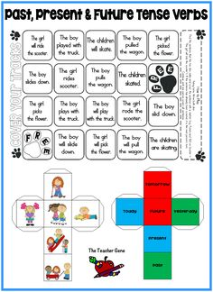 Roll both dice. Cover the sentence the roll makes. First player to cover whole board wins. Great game for literacy center to review past, present and future tense of regular and irregular verbs. ($)
