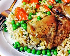 24. One-Pan Baked Chicken and Brown Rice Casserole #beginner #dinner #recipes…