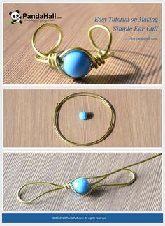 Easy Tutorial on Making Simple Ear Cuff: - DIY Schmuck Ringe Diy Jewelry Rings, Ear Jewelry, Jewelry Crafts, Jewlery, Jewelry Ideas, Ear Cuff Tutorial, Wire Rings Tutorial, Wire Ear Cuffs, Ear Cuffs Diy