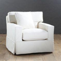 Graham Swivel Chair Slipcover   Ballard Designs With Trilby Basketweave  Gray Slipcover
