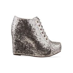 Jeffrey Campbell - 99 Tie Glitter (€125) ❤ liked on Polyvore featuring shoes, boots, ankle booties, heels, wedges, silver, wedge ankle booties, platform wedge boots, silver booties and platform heel booties