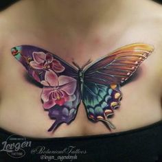 Stunning butterfly tattoo on chest by Levgen                                                                                                                                                                                 More