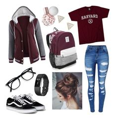 """Harvard University"" by sknudson ❤ liked on Polyvore featuring WithChic, Victoria's Secret, Fitbit and Adina Reyter"