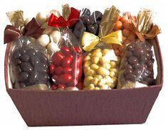 Chocolate Fruit & Nut Gift Basket Gourmet Gift Baskets, Diy Gift Baskets, Gourmet Gifts, Gift Hampers, Wedding Gift Baskets, Wedding Gift Wrapping, Creative Gift Wrapping, Wedding Gifts, Fruit Gifts