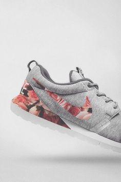 nike roshe run grey roses romantic shoes
