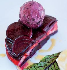 Beetroot and strawberry cake with sage, berry and beetroot sorbet   Woolworths Taste