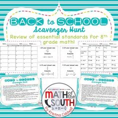 BACK TO SCHOOL SCAVENGER HUNT 8TH GRADE MATH (TASK CARDS) This product is a 30-question scavenger hunt where students can practice solving problems: two step equations, operations with integers, fractions, and decimals, and order of operations with integers, decimals, and fractions. ♦ MORE ABOUT THIS PRODUCT ♦ BACK TO SCHOOL SCAVENGER