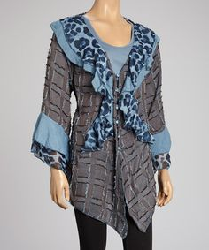 Take a look at this Blue Leopard Ruffle Silk-Blend Cardigan - Women by Pretty Angel on #zulily today!