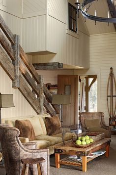 That staircases hand rail though!!! Top 10 Rustic Home Decorations. You would Love #7::::::::::::::: I love the stair railing!