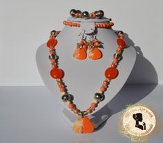 Tangerine – Handmade Jewelry Set, Statement necklace and earrings