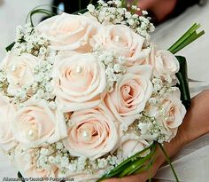 Ultra Romantic Wedding Bouquet Comprised Of: Pastel Pink Roses, White Gypsophila (Baby's Breath), Green Lily Grass Loops & Green Aspidistra