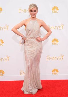Golden girl: Taylor Schilling goes for a glamorous Hollywood look for the Emmys red carpet.