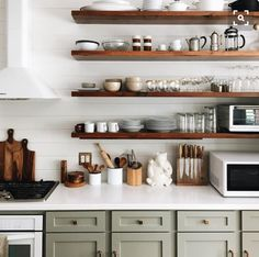 open shelving + cabinetry color