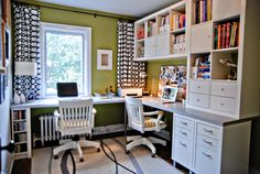 "Rambling Renovators | home office for two ikea~ Shopping list for this room: 2x expedit bookcases, 2x Mikael file cabinets, 2 -4pk capita legs, 2 Numerar countertops (double sided, aluminum & white, 96""). All from Ikea."