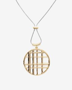 Plaid Cutout Pendant Necklace