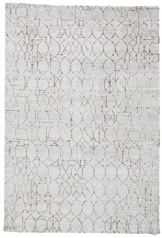 Patterned handmade rectangular rug BARBÈS Hand-knotted Collection by Warli design Paolo Zani