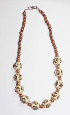 Handmade White and Brown Beaded Necklace               by SCLadyDi, $24.95