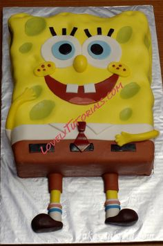 "МК торт ""Губка Боб"" -Spongebob cake step by step - Мастер-классы по украшению тортов Cake Decorating Tutorials (How To's) Tortas Paso a Paso"