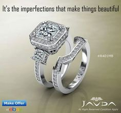 Princess diamond bridal set Halo engagement ring
