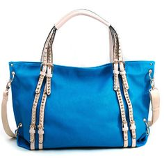 Women's Mini-Cone Studded Fashion Tote w/ Belted Accents & Bonus Strap - Turquoise Color: Turquoise Studded Bag, Turquoise Color, Fashion Handbags, Gym Bag, Studs, Mini, Spikes, Duffle Bags, Stilettos