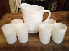 ---Haha...I just picked this up at yard sale for $10   :-)Vintage Hobnob Milk Glass Pitcher and 6 Glasses by threefootweid, $65.00