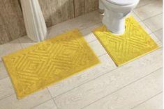 Yellow Cotton Chevron Tufted Bathroom Rug Decor with Non Skid Backing (Set of 2) #BathRug #BathMat #ChevronMat #SoftMat #DoorMat #Mat #Rug #SkidResistant #NonSlip #Home #Kitchen #Bathroom #Bath #MatSet