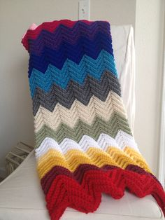Rainbow Baby Crochet Blanket by EnchantedPrimitives on Etsy, $40.00