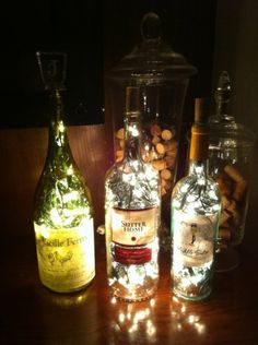 Fairy light bottles.