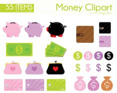 Money Clipart, Finance, Cash, Dollar Bill, Saving Money, Save up, piggy bank, dollars,finance, pay day, Commercial Use, CS0044 by Sweetdesignhive on Etsy Money Clipart, Money Planner, Planner Supplies, Piggy Bank, Saving Money, Finance, Commercial, Money Bank, Clip Art
