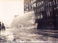The full scope of the destruction caused by the Knowless Building Fire, corner of Main and High Streets, Worcester Massachusetts. Photograph from the E. Worcester Massachusetts, Destruction, Maine, Photograph, Corner, History, Street, City, Building