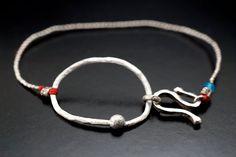 Red Point Tiny Silver Bracelet on Etsy, $27.95