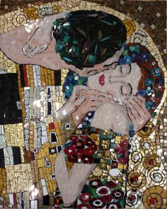 "mosaic art #art #design #mosaic - ""The Kiss"" by Gustav Klimt - [Thanks to pinner Sam Farrar Williams for the second part of this caption.] More"
