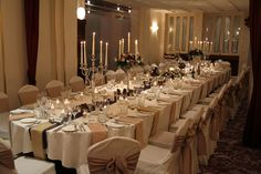 Long table for around 30 guests with Regency Candelabra table designs at Barton Grange