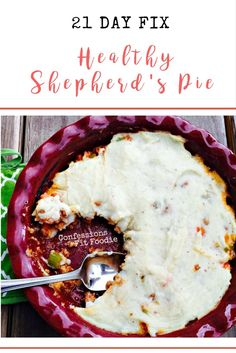 "Healthy shepherd's pie. Yes, there is such a thing! Lean turkey and vegetables, simmered in a rich gravy and topped with cauliflower mashed ""potatoes"". It's a 21 Day fix dinner to love! Confession #60 – I consider this one of my biggest wins to date. Regular readers of my blog know that my husband isn't the easiest guy to..."