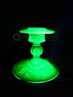 shopgoodwill.com: 2 Vintage Uranium / Vaseline Glass Candle Sticks