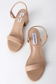 All day or all night, the Steve Madden Ida Natural Ankle Strap Heels are always a chic choice! Low block heels with a minimalist stretchy, tubular ankle strap. Ankle Straps, Ankle Strap Sandals, Nude Sandals, Sandal Heels, Shoe Boots, Shoes Heels, Platform Espadrille Sandals, Minimalist Shoes, Bridesmaid Shoes
