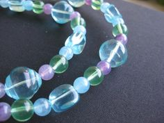 Blues Chunky Acrylic Necklace by GoldCatJewelry on Etsy, $12.00