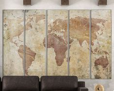 Cracked World Map Leather Print/Vintage World Map/Wall art/Extra large World Map/Wall decor/Better than Canvas!
