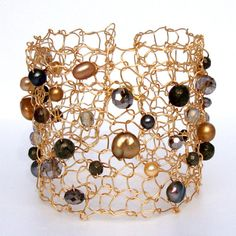 Pyrite Wire Cuff Pearl Statement Bracelet Fools Gold by lapisbeach,