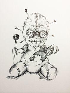 Voodoo Doll Tattoo, Voodoo Dolls, Pencil Art Drawings, Art Sketches, Vodoo Tattoo, Gothic Drawings, Wings Sketch, Frankenstein Art, Gas Mask Art