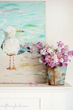 Craftberry Bush: The Bird Lady - Acrylic Seagull on Wood Canvas