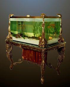 antique aquarium. love the seahorses