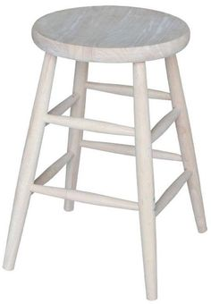 Luxury White Wood Swivel Bar Stool