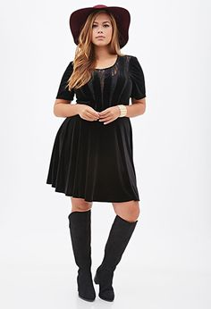 Velveteen & Lace Dress | FOREVER21 PLUS -