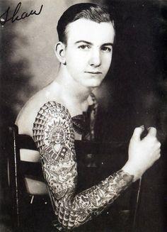 Bob Shaw tattooed by Bert Grim, Los Angeles, (California) 1940s